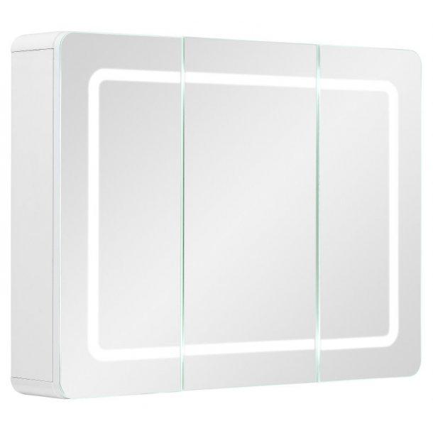 Spejlskab Maja 80 cm til badeværelse i hvid højglans lak inkl. LED lys. Leveres færdig samlet.