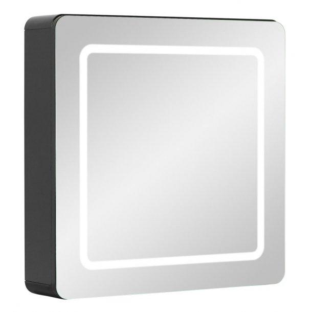 Spejlskab Maja 60 cm til badeværelse i sort højglans folie inkl. LED lys. Leveres færdig samlet.