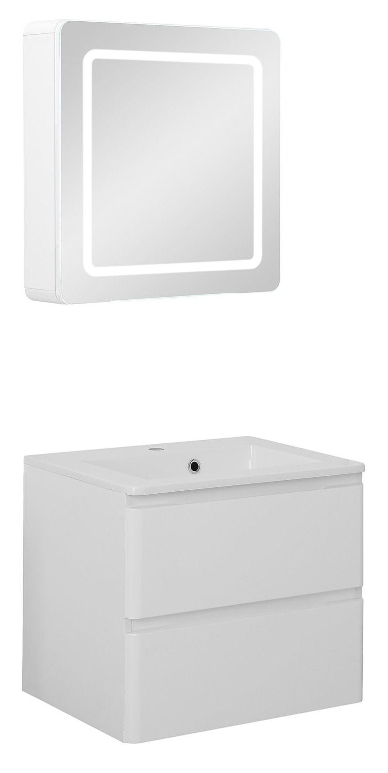 badm belset maja small waschbecken und spiegelschrank in 60 cm breite hochglanz weiss kaufen. Black Bedroom Furniture Sets. Home Design Ideas