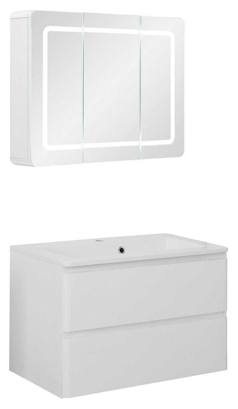 badm belset maja small waschbecken und spiegelschrank in 80 cm breite hochglanz weiss fertig. Black Bedroom Furniture Sets. Home Design Ideas