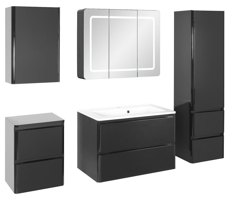 badm belset maja large waschbecken und spiegelschrank in 80 cm breite hochglanz schwarz folie. Black Bedroom Furniture Sets. Home Design Ideas