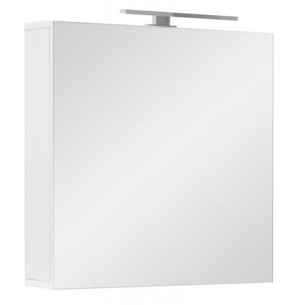 Speilskap Athena 60 cm til baderommet i hvit høyglans lakk inkl. LED lys. FERDIG MONTERT