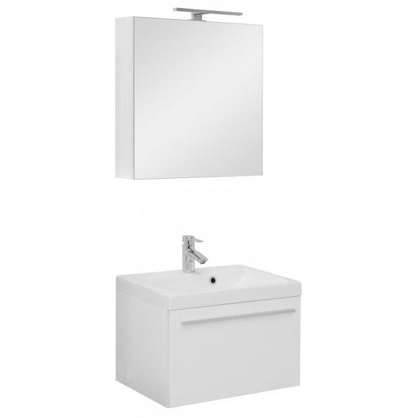Badeværelse Athena small opstilling hvor vask og spejlskab er 60 cm. Hvid højglans lak. Leveres færdig samlet.
