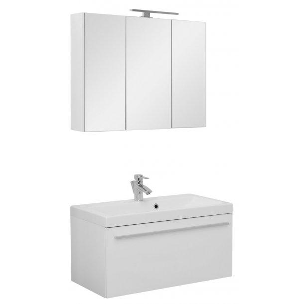 Badeværelse Athena small opstilling hvor vask og spejlskab er 80 cm. Hvid højglans lak. Leveres færdig samlet.