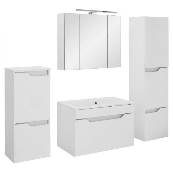 Badeværelse Lili large opstilling hvor vask og spejlskab er 80 cm. Hvid højglans lak. Leveres færdig samlet.