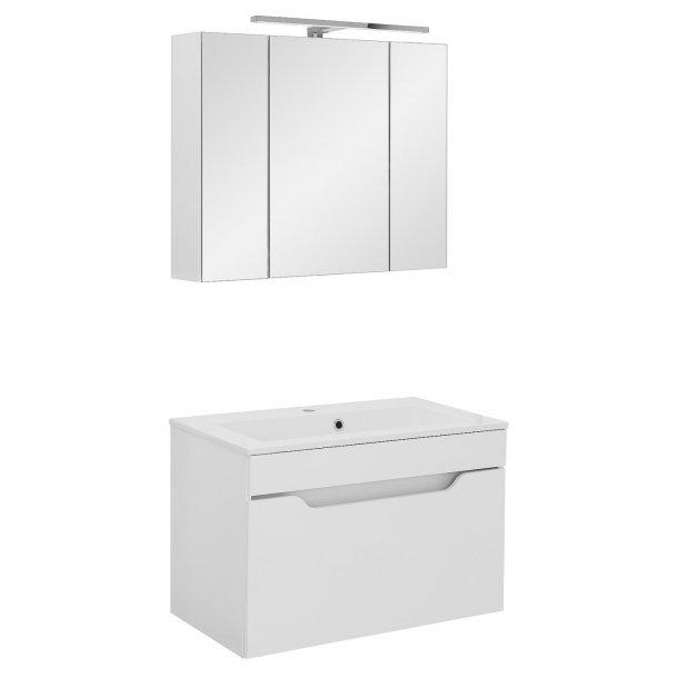 Badeværelse Lili small opstilling hvor vask og spejlskab er 80 cm. Hvid højglans lak. Leveres færdig samlet.