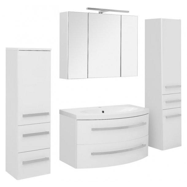 Badeværelse Carla large opstilling hvor vask og spejlskab er 96 cm. Hvid højglans lak. Leveres færdig samlet.