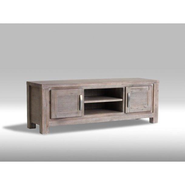 Alana TV-bord med 2 låger og 1 hylde i brunbejdset Akacietræ. Leveres færdig samlet.