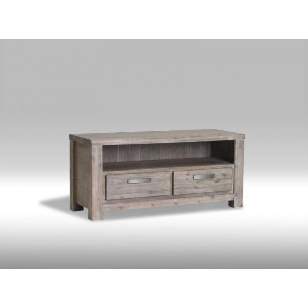 Alana TV-bord med 2 skuffer og 1 hylde i brunbejdset Akacietræ. Leveres færdig samlet.