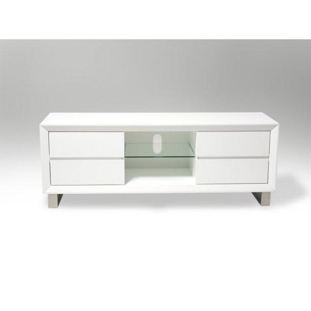 Bas TV bord med 4 skuffer i hvid og 1 glasplade. Leveres færdig samlet.