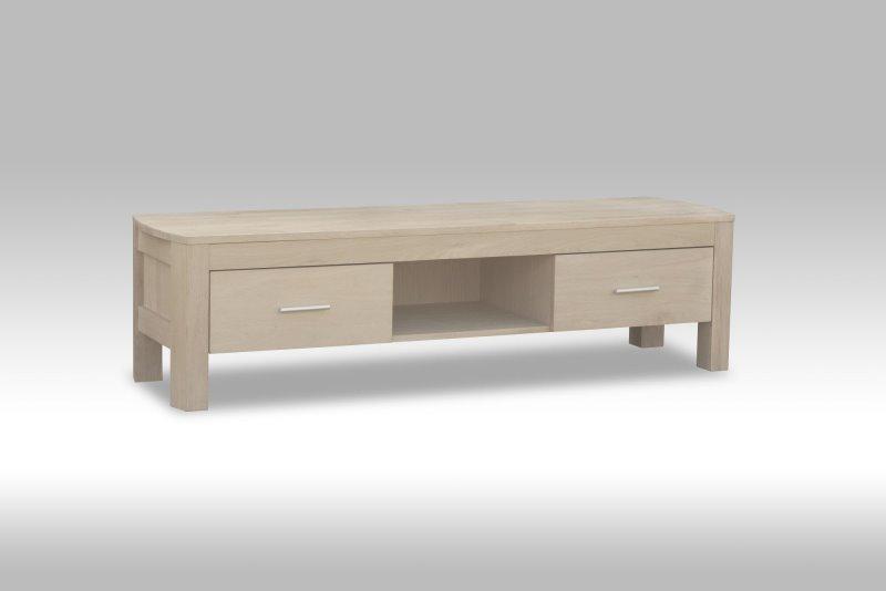 veneto tv tisch mit 2 schubladen und einer ablage in wei gelaugter eiche bestellen sie jetzt. Black Bedroom Furniture Sets. Home Design Ideas