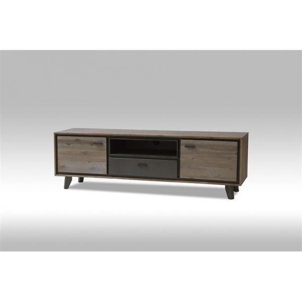Marla TV bord med 2 låger og 1 skuffe i brun / grå akacie træ. Leveres færdig samlet.