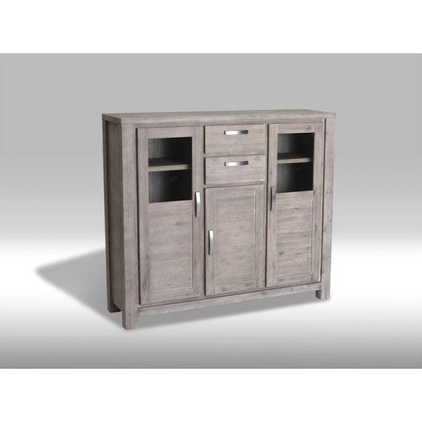 alana vitrine mit 3 t ren und 2 schubladen in braungebeizten akazienholz bestellen sie hier. Black Bedroom Furniture Sets. Home Design Ideas