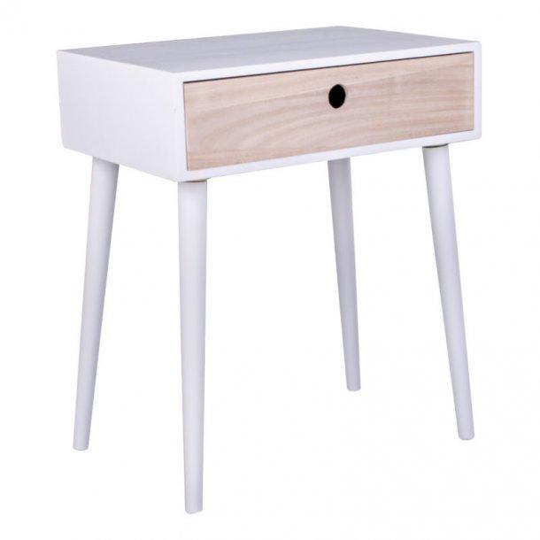 Pam natbord med 1 skuffe i natur og hvid.