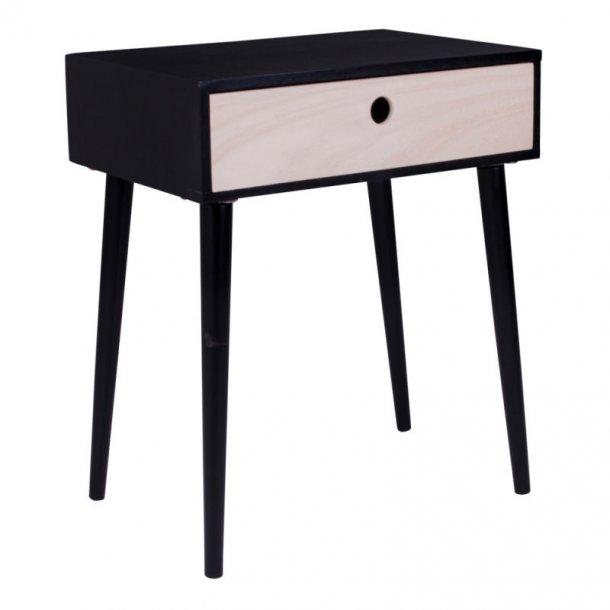 Pam natbord med 1 skuffe i natur og sort.