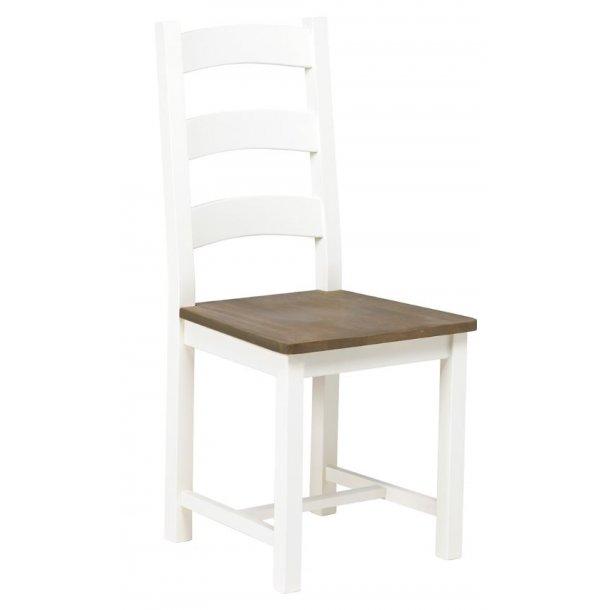 Lyra spisestuestol i brunbejdset lakeret og hvid.