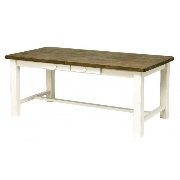 Lyra spisebord med 2 skuffer i brunbejdset lak og hvid.