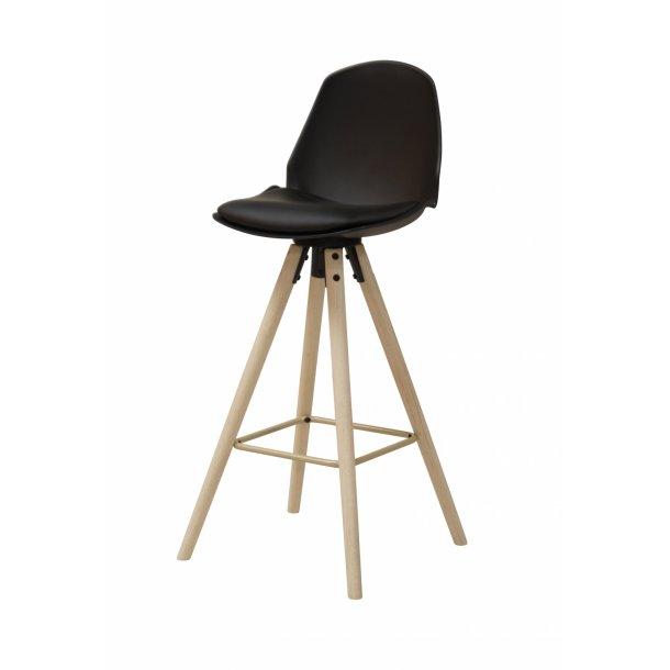 Ozon barstol i sort PU kunstlæder.