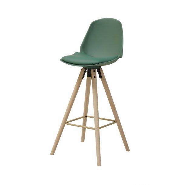 Ozon barstol i frosted grøn PU kunstlæder.