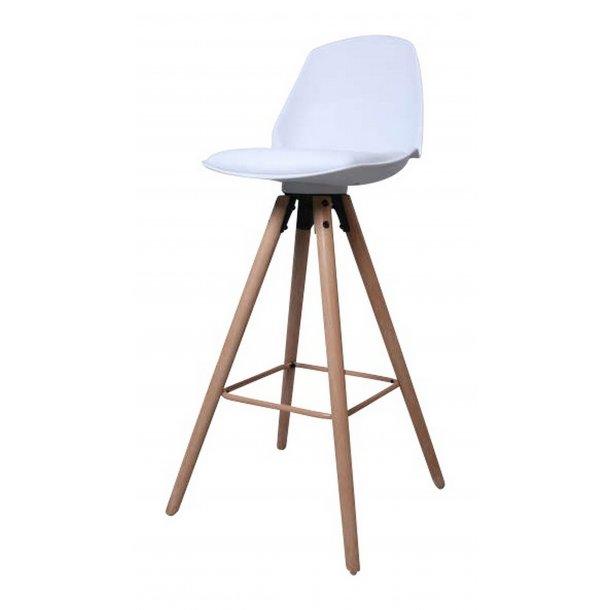 Ozon barstol i hvid PU kunstlæder.