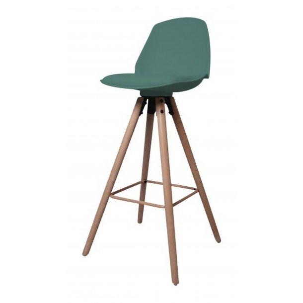 Ozon barstol i frostet grøn PU kunstlæder.