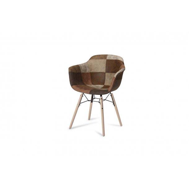 Flemming spisestuestol brun og grå.