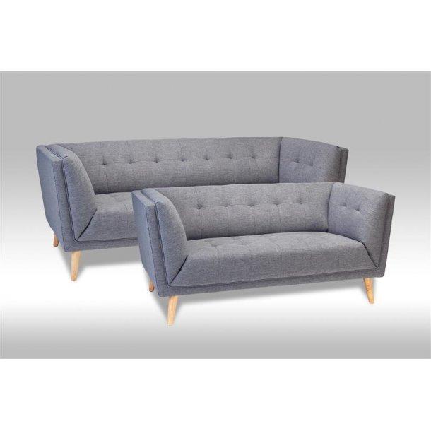Prim sofagruppe 2 og 3 personers sofa i grå stof.