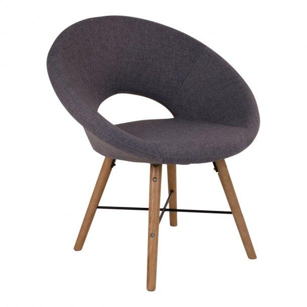 Mona lænestol i grå med sort stel og egetræsben.