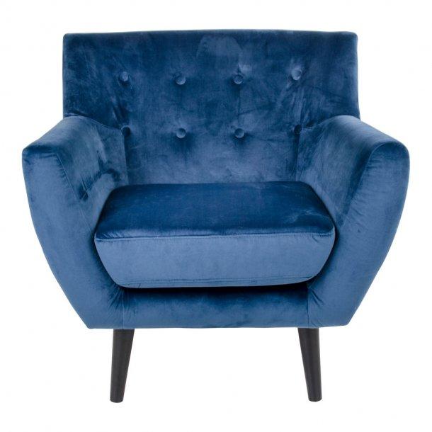 Mona lænestol i mørkeblå velour.