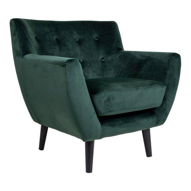 0f82277eec2 Mona lænestol i grøn velour. Fri fragt, lev 1-2 dage!