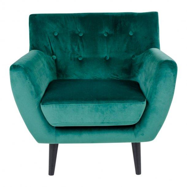 Mona lænestol i grøn velour.
