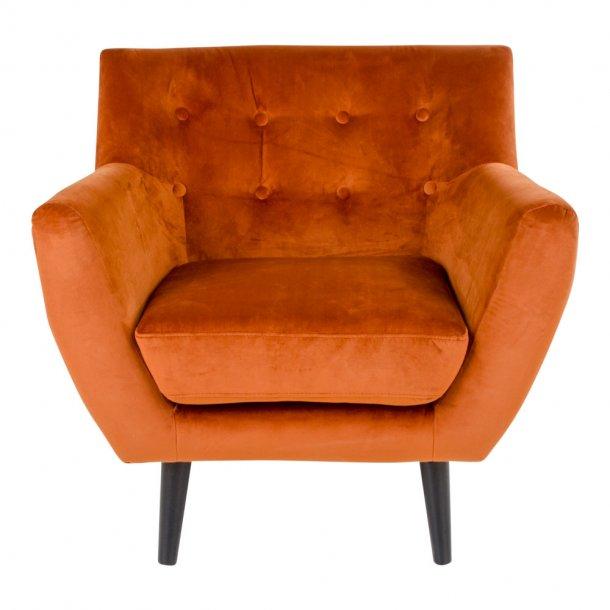 Mona lænestol i brandt orange velour.