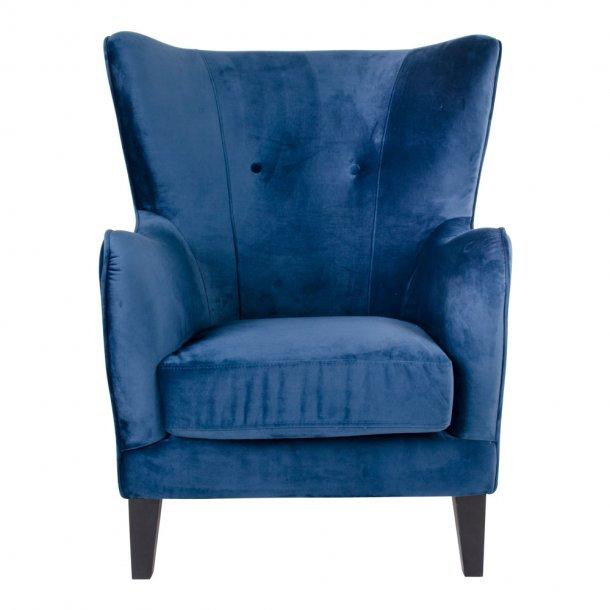 Carl lænestol i mørkeblå velour.