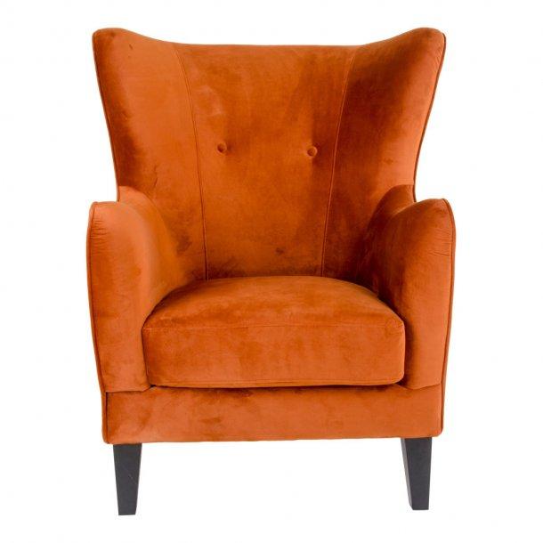 Carl lænestol i brandt orange velour.