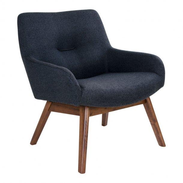 Lone lænestol i mørkegrå med valnødde ben.