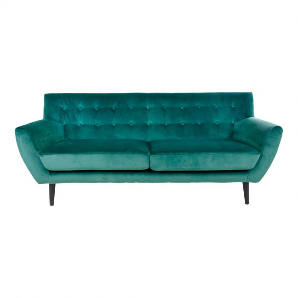 Mona sofa 3 personers i grøn velour.