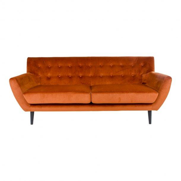Mona sofa 3 personers i brandt orange velour.
