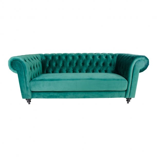 Chilli sofa 3 personers i grøn velour.