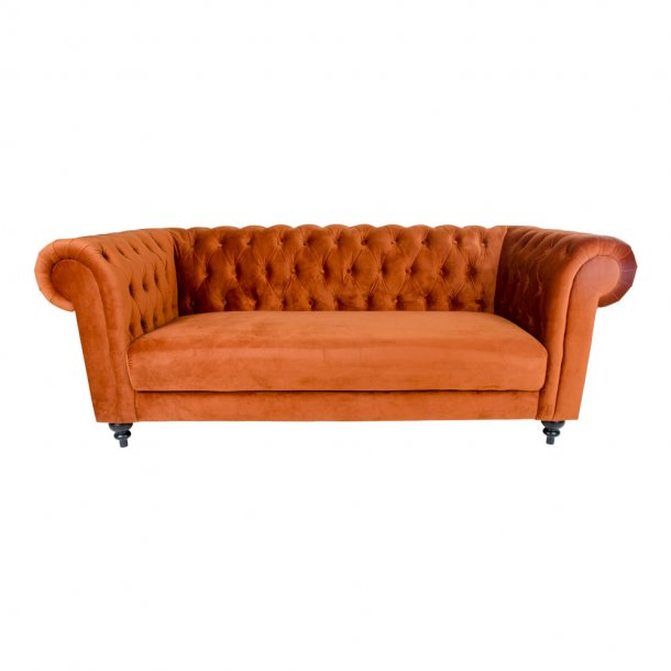 Chilli sofa 3 personers i brændt orange velour.
