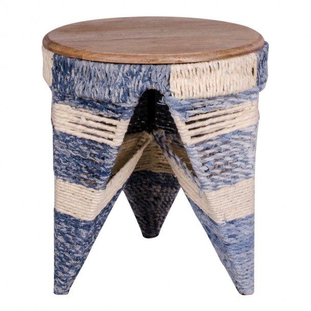 sissi hocker in gestreifter baumwolle und einer tischplatte aus naturholz bestellen sie hier. Black Bedroom Furniture Sets. Home Design Ideas