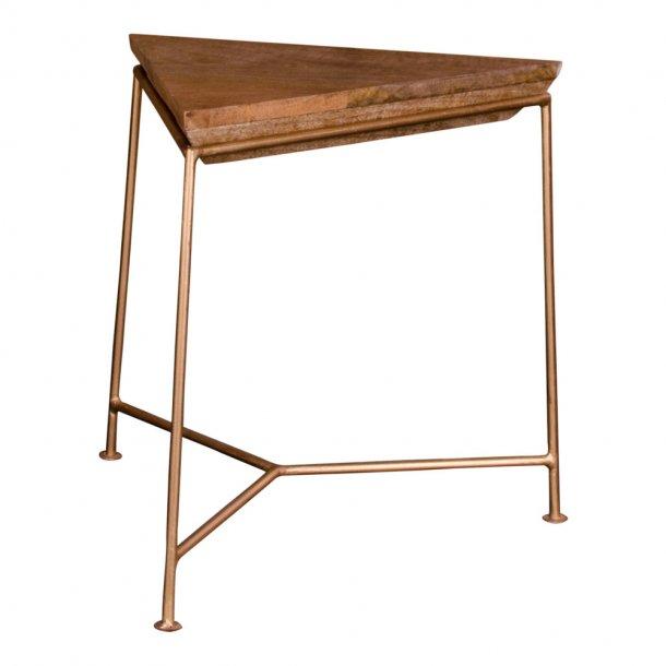 Raku hjørnebord i mangotræ og metalstel guldfarvet.