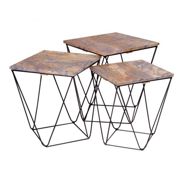 Rano hjørnebord sæt med 3 borde i grå med stål ben i sort.