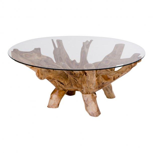 Amaze sofabord rundt Ø110 cm med glasplade og teak natur ben.