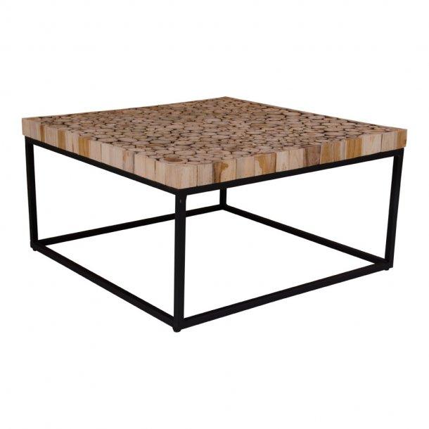 Kruse sofabord 80 x 80 cm i natur træ og metalstel.