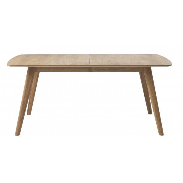Rhoda spisebord 100x180/270 cm inkl. 2 tillægspl. i massiv og fineret eg med lak.
