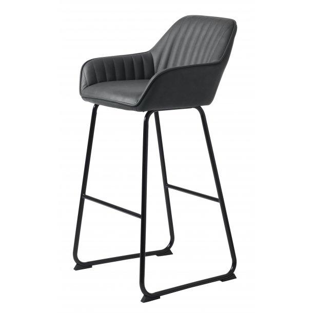 Bram barstol i grå PU kunstlæder og sort stel.