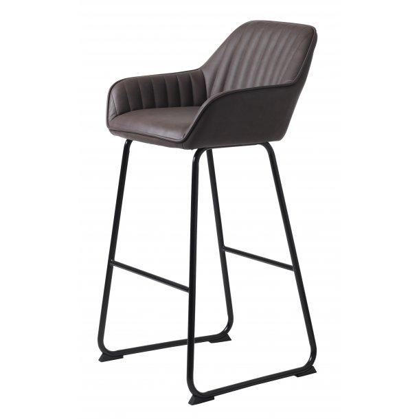 Bram barstol i mørk brun PU kunstlæder og sort stel.