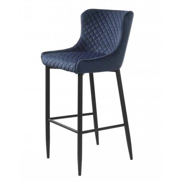 Otis barstol i blå velour og sort stel.
