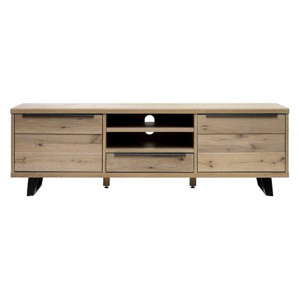 Norm TV bord med 2 låger og 1 skuffe i massiv og fineret amerikansk vild eg, hvid pigment lak.