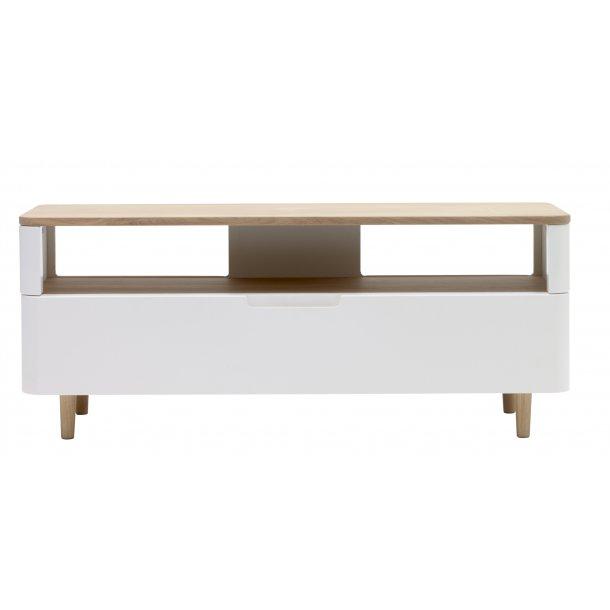 Amalie TV bord med 1 skuffe i hvid, fineret og massiv eg hvid olieret.
